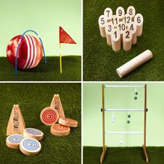Clockwise from top left: Giant Kick Croquet Scatter Ladder Golf and Rollors Summer Camp Themes, Summer Activities, Custom Woodworking, Woodworking Projects Plans, Wood Crafts Summer, Ladder Golf, Outdoor And Country, Astro Turf, Lawn Games