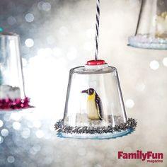 Mini Snow Globe Ornaments: A drift of Epsom salts helps set the scene in this winter wonderland.