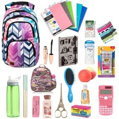 """BACK-TO-SCHOOL ESSENTIALS"" by senaidah on Polyvore ....totally want the scissors"
