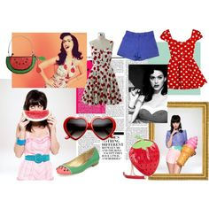 """""""Katy Perry - One of the Boys"""" by lollipocalypse on Polyvore / Fruit / Polka Dots / Cherries / Watermelon / Pinup / Vintage / Fashion"""