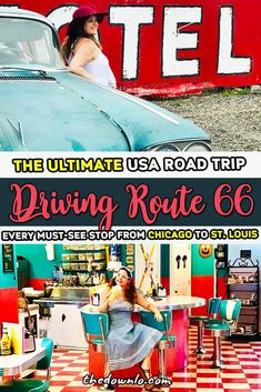 Route 66 starts in Chicago, making it the beginning of a historic Route 66 road trip and a trip back through time across the best of Illinois. Route 66 Road Trip, Road Trip Hacks, Road Trip Usa, 66 Route, Driving Route 66, Route 66 Attractions, Usa Travel Guide, Travel Usa, Travel Tips