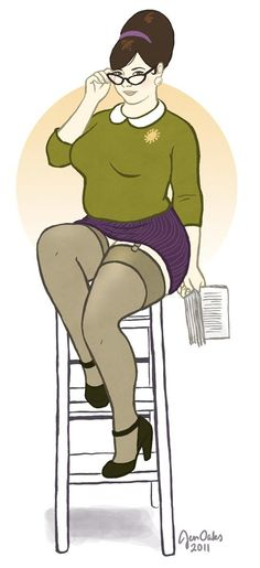 Sexy librarian pin-up girl by Jen Oaks (I love that she's curvy!!! :3)