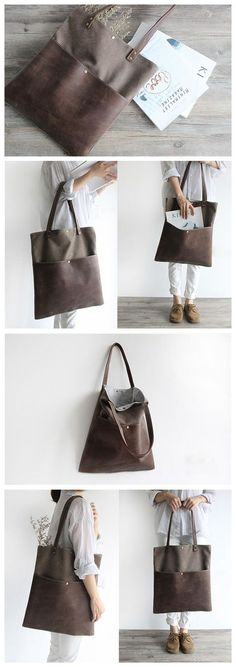 Handmade Waxed Canvas and Leather Tote Bag Women's Handbag Casual Satchel 16006