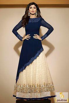 Z Fashion Trend: SHILPA IN COBALT BLUE PARTY WEAR DESIGNER DRESS