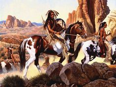 Comanche War Party by Richard Luce ~ Native Americans on horseback in the desert West Native American Pictures, Native American Artwork, Native American Artists, Native American History, Native American Indians, Comanche Warrior, Indian Animals, American Indian Wars, Pierre Brice