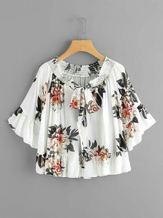 SheIn offers Peony Print Bow Tie Front Trumpet Sleeve Blouse & more to fit your fashionable needs. Girls Fashion Clothes, Girl Fashion, Fashion Dresses, Clothes For Women, Stylish Dresses, Cute Dresses, Casual Dresses, Mode Kimono, Fancy Tops
