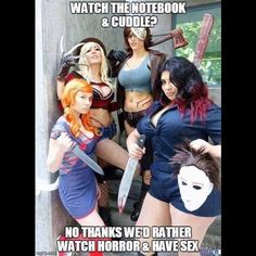#NYCC starts tomorrow and what better #WCW post than ALL of our favorite cosplayers together in one photo! Your nightmares come true!  Freddy: Jessica Nigri @jessicanigri  Jason: Abby Dark-Star @abbydarkstar  Michael Myers: Ivy Doomkitty @ivydoomkitty  Chucky: JoJo PandaFace (who also gets credit for putting the group together) @jojopandaface  Photo credit goes to Eurobeat Kasumi Photography!  #Kotobukiya #Horror #80sHorror #ClassicHorror #SlasherFilm #FridayThe13th #JasonVoorhees…