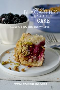 Gluten-, egg-, and dairy-free Lemon Blackberry Crumble Cake is part-beautiful breakfast, part-decadent dessert.