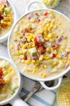 This delicious Ham and Corn Chowder is rich, creamy full of flavor! This easy to make soup is loaded with ham, bacon, corn, potatoes. Perfect fall dinner or lunch! Hamburger Soup, Ham Soup, Corn Soup, Soup With Ham, Potato Soup, Chowder Recipes, Soup Recipes, Cooking Recipes, Recipies