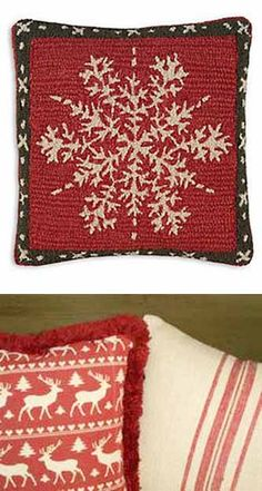 red and white christmas cushions