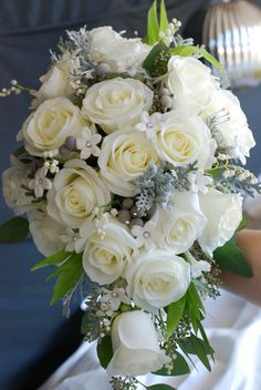 Cascade bouquet - white roses, stephanotis, brunia berries, dusty miller, and bling Bling Bouquet, Hand Bouquet, Cascade Bouquet, White Roses Wedding, Wedding Flowers, Wedding Decorations, Table Decorations, Wedding Ideas, Dusty Miller