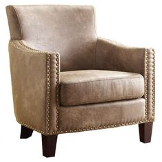 Rustic cheap and chic!  Nailhead trim & kidproof faux leather / Equestrian Arm Chair by Moray Designs on Jossandmain