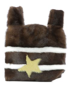 SIMONETTA RAVIZZA BROWN MINKS FUR HANDLE BAG. #simonettaravizza #bags #hand bags #silk #fur #lining #