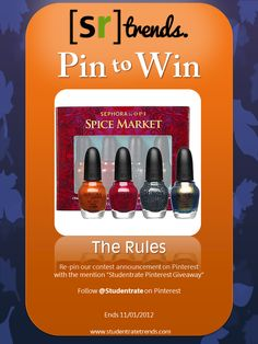 "Studentrate Pinterest Giveaway!! Re-pin to win this Sephora by OPI nail polish set <3 Mention ""Studentrate Pinterest Giveaway"""