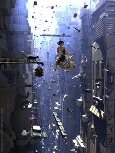 Girl on a Scooter [( Science-fiction dystopia future noir Blade Runner cyberpunk night skylines dark city Metropolis )] Cyberpunk City, Arte Cyberpunk, Ville Cyberpunk, Futuristic City, Arte Sci Fi, Sci Fi Art, Art And Illustration, Fantasy Kunst, 3d Fantasy