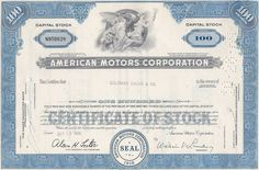 Uncommon and clean American Motors stock certificate. Last of the independent automakers. Made AMC, Jeep, Nash, Rambler, Gremlin. Merged with Chrysler Money Frame, Arena Rock, Retro Vector, American Motors, Gremlins, Old Paper, Vignettes, Certificate, How To Memorize Things