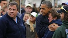 This is my president. Obama comforts a woman whose property was damaged in the storm.