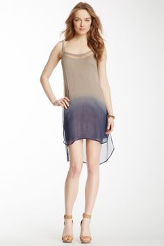 "Ombre Tunic Dress by Chan Luu $263 - $79 @HauteLook. - Scoop neck - Crinkled texture throughout - Ombre dip-dye detail - Removable knit spaghetti strap lining - Split sides - 35"" length. Model's stats: - Height: 5'10.5"" - Bust: 31"" - Waist: 22""  - Hips: 34"". Model is wearing size S. Dry clean. 100% viscose."