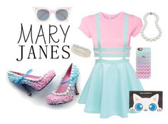 """""""Cotton Candy Mary Janes"""" by dattabi ❤ liked on Polyvore featuring Bling Jewelry, Le Specs, Casetify, Karl Lagerfeld, Dorothy Perkins, Pink, Blue, Punk, pearls and maryjanes"""