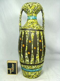 Beautiful / schöne  50´s Bodo Mans design pottery  Bay Keramik vase  1014 - 25
