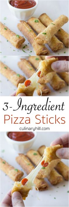 3-Ingredient Pizza Sticks are so easy yet delicious and addictive, and perfect with my super simple Marinara Dipping Sauce! What a great appetizer recipe!