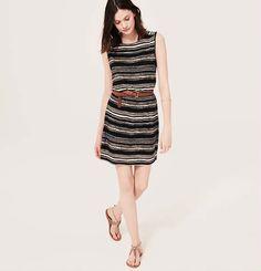 Petite Stripe Tie Back Sleeveless Dress | Loft