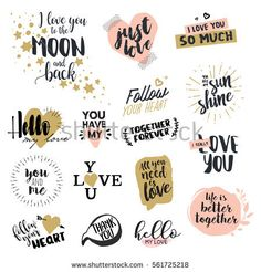 Hand drawn vector illustrations for greeting cards, love messages, social media, networking, web design. Scrapbooking Stickers, Printable Scrapbook Paper, Printable Planner Stickers, Farewell Gifts, Snapchat Stickers, Hand Logo, Love Stickers, Brush Lettering, Love Messages
