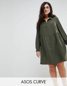 5852d4c2a100 Achetez ASOS CURVE - Robe chemise courte style babydoll à manches longues  sur ASOS. Découvrez la mode en ligne.