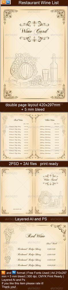 Square Bifold-Simple Food Menu Food menu, Menu printing and - free wine list template