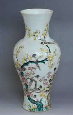 Chinese Porcelain Famille Vase Depicting Birds & Flowers Condition: very good Dimension: 16 3/4 inches height