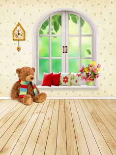 Purchase Baby Kids Room Wall Mural Decoration Wooden Floor Bear Plush Arched Window Studio Props Photography Backdrops from Ann Pekin Pekin on OpenSky. Studio Background Images, Background For Photography, Photography Backdrops, Photography Backgrounds, Flower Backdrop, Flower Wall, Foto Montages, Studio Backdrops, Flower Phone Wallpaper