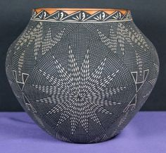 Sunburst Fine Line Olla by Lillie Patricio.   Imagine the patience required to fashion this olla, map out its design and to paint it without making mistakes ! $285