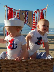 First Birthday Invitation Photo Shoot. Sailor and Anchor Theme. The boys are in coordinating handmade onesies, too cute!