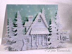 I have created two different sparkly all white Christmas projects this season using this gorgeous Memory Box Yuletide designer. I had one sheet of this pattern left and decided to create an all white scene using. Christmas Lodge, Noel Christmas, Christmas Paper, Handmade Christmas, White Christmas, Christmas Crafts, Christmas Cards To Make, Xmas Cards, Holiday Cards
