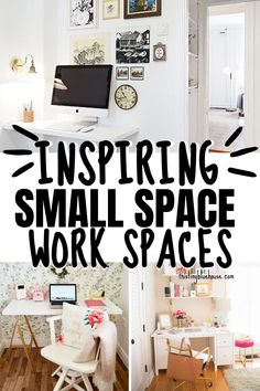 Need to create a functional and inspiring work space but lack the real space to do it? Here are 19 really functional and practical home office ideas for small spaces. Small Space Office, Small Spaces, Small Wooden Desk, Living Room Nook, Diy Household Tips, Declutter Home, Workspace Inspiration, Built In Desk, Home Organization Hacks