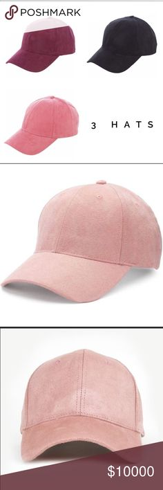 🆕🖤🌺🔥 Vegan Suede Baseball Hat 🔥🌺🖤 Gorgeous unique vegan suede baseball hats. They are adjustable. The colors available will be black, burgundy, and blush. WILA Accessories Hats