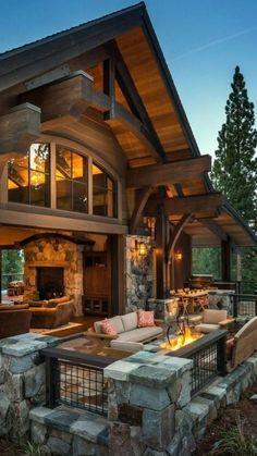 Mountain Dream Homes, Mountain Home Exterior, Dream House Exterior, Dream House Plans, Mountain Cabins, Mountain Living, Dream Home Design, House Design, Design Homes