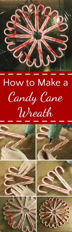 How to Make a Candy Cane Heart Wreath - scoop up candy canes on sale after Christmas to make a pretty heart wreath for Valentine's Day! | RoseBakes.com