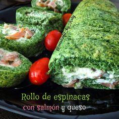 Recetas fit by Katy: ROLLO DE ESPINACAS CON SALMÓN Y QUESO