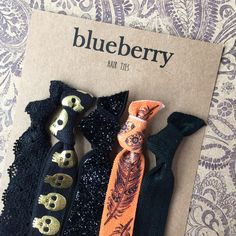 Hair Ties - Spooky Prints Set of 5 Hair Ties / Hair Bands / Elastics - Halloween Themed Hair Accessories, Skulls, Lace, Autumn Feathers by BlueberryHairTies on Etsy