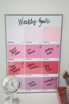 Weekly dry erase calendar goals