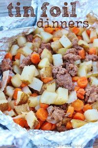 Tin Foil Dinners - Love this grilling recipe! Ground beef and vegetables are grilled together in foil packs to create an all-in-one dinner. So easy and SO good!