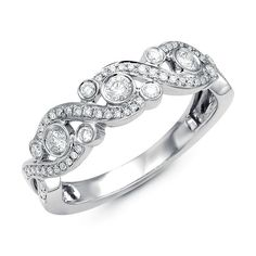 14kt white gold diamond ring. There are about 63 round brilliant cut diamonds set in the ring. The diamonds are about 0.37 ct tw, VS1-2 in clarity and G-H in color.