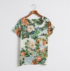 Casual Retro Rose Printed Satin t-shirt
