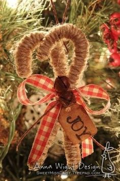 Twine candy canes- rustic Christmas tree by savannah