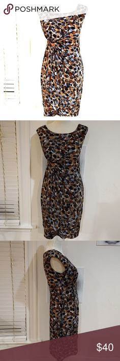 Connected Brown Blue Black White Mod Bubble Dress As pictured and described! Good used condition; I love love love this dress. Asymmetrical hem under bust. Great for spring/summer/fall, have worn to work under a blazer or solo. Poly spandex blend, very flattering! connected apparel Dresses