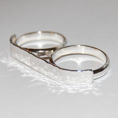 Sterling two finger semicontoured ring two by TheSilverArtisan, $85.00