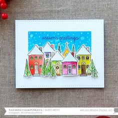 Hello everyone! This is Natalia Valkovskaya and I'm happy to be back to share with you two ideas featuring the adorable Holiday Houses  stam...