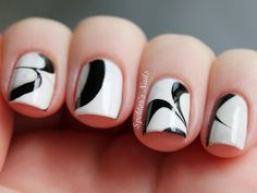 Spektor's Nails: Black & White Water Marble