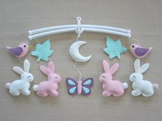 Rabbit Baby Mobile Musical Baby Mobile Bird Cot Mobile Pink